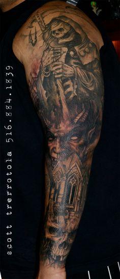 halloween cemetery tattoos | Graveyard Tattoo Sleeve Grey ink graveyard tattoo on