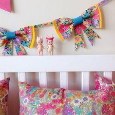 Bow Garland / Wall Hanging / Liberty Fabric / Girls Bedroom Playroom Nursery Decor Decoration / Australian Made