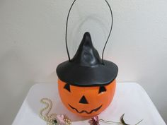 Jack O Lantern Bucket with Witches Hat Blow Mold please read details by LuRuUniques on Etsy