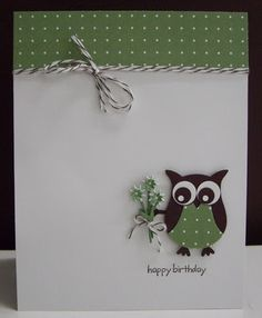 Stamping with Loll: Happy Birthday Bouquet - owl punch (Apr. Happy Birthday Bouquet, Tarjetas Stampin Up, Owl Punch Cards, Karten Diy, Owl Card, Stamping Up Cards, Bird Cards, Creative Cards, Greeting Cards Handmade