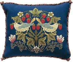 Strawberry Thief 2 cushion Needlepoint Pillows, Needlepoint Patterns, Needlepoint Canvases, Embroidery Kits, Cross Stitch Embroidery, Tapestry Kits, Yarn Shop, William Morris, Linen Pillows