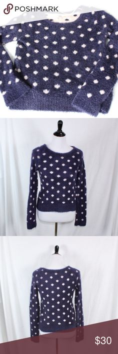 Anthropolgie Moth Wooly Dotted Sweater. Anthropolgie Moth Wooly Dotted Sweater.  Size Medium.  Blue with light blush colored polka dots. Excellent used condition. Thanks. Anthropologie Sweaters Crew & Scoop Necks