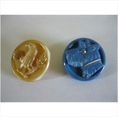 2 collectable vintage glass buttons blue with dog beige with bird on eBid United Kingdom