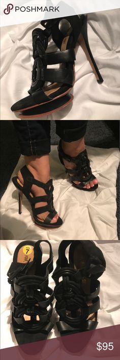 LAMB strappy heels Beautiful, comfortable high heel. Sude and leather wood heel. In great conditions. LAMB Shoes Heels