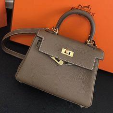 26e7f09043ff Hermes kelly 20cm Togo Calfskin Leather Bag Khaki