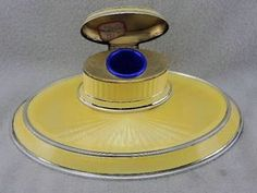 RARE Antique Art Deco 935 Sterling Silver Guilloche Enamel Inkwell GORGEOUS