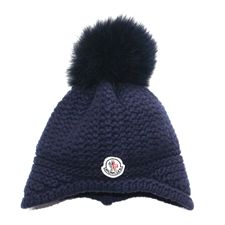 Moncler Navy Hat With Fur Pom Pom