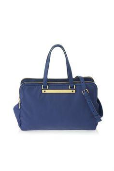 blue handbag with gold details