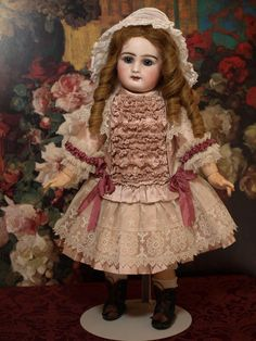 Rabery & Delphieu French Bebe-Authentic Antique Human Hair Wig-Gorgeous Blue Paperweight Eyes-Lovely Lace Dress ♥♥