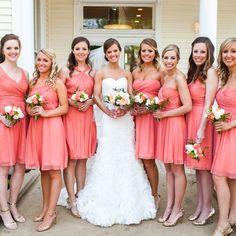 Short Pink Bridesmaid Dresses // Nicole Ryan Photography // http://www.theknot.com/weddings/album/a-romantic-pink-wedding-in-austin-tx-138436