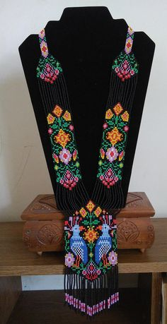 Ethno gerdan with birds,Colorful beaded necklaces,Ethnic necklace,Flowers ukrainian necklace,Long necklace with birds Details: length of 54 width - Bead Loom Patterns, Beaded Jewelry Patterns, Beading Patterns, Cute Jewelry, Etsy Jewelry, Bordado Popular, Loom Beading, Gifts For Girls, Necklaces