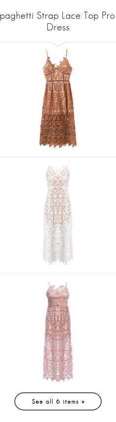 """Spaghetti Strap Lace Top Prom Dress"" by rosegal-official ❤ liked on Polyvore featuring dresses, rosegal, lace slip dresses, brown lace dress, nude lace dress, nude dress, lace cocktail dresses, lacy white dress, lace dress and lace prom dresses"