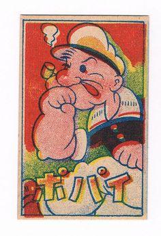 Popeye RARE 1948 Japanese Menko Baseball Card EX Betty Boop Mickey Mouse on Back | eBay