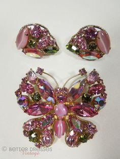 Vintage Regency Brooch and Earrings Pink AB Figural Demi Parure by Better Dresses Vintage