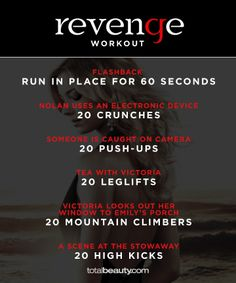 TV-Inspired Workouts by clarissa Tv Show Workouts, Fun Workouts, At Home Workouts, I Work Out, Going To Work, Revenge Tv, Workout Memes, Workout Challenge, Physical Fitness