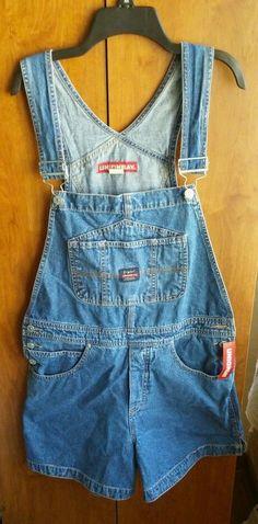 Union Bay Woman's Large Bib Overalls Shorts Blue Jeans NWT #UNIONBAY #bibshorts