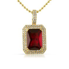 Double Iced Out Lab Ruby Gem Pendant