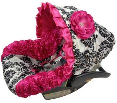 NEW Damask Hot Pink Infant Car Seat Cover, Baby Car Seat Cover with matching strap set on Etsy, $149.95 --- So whenever I have a little girl, this will be the very first thing on my wish list!!!