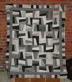 Quilts for Men | Black and White Crazy Quilt - QUILTING