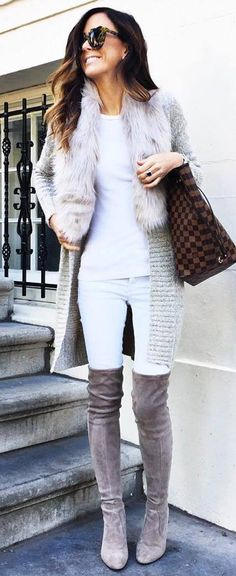 awesome fall outfit idea : knit cardigan + bag + top + skinnies + over the knee boots
