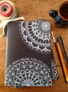 Hand-Decorated Black Cover Sketchbook with Mandala art. Notebook Cover Design, Notebook Covers, Art Journal Covers, Diary Cover Design, Diary Covers, Notebook Art, Doodle Drawing, Mandala Drawing, Doodle Art