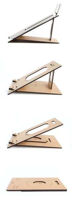 Flio: collapsible, slim and lightweight wooden laptop stand - easy stacking