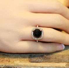 Natural Black Onyx Diamond Halo Engagement Ring by MidPointDesign