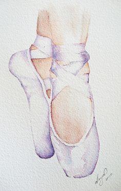 Ballet Slippers Ballerina Painting, Ballerina Art, Ballet Art, Ballerina Bedroom, Ballet Drawings, Dancing Drawings, Bff Drawings, Watercolour Painting, Painting & Drawing