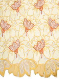Beige African Fabric Exclusive Swiss Voile Lace Cotton Yellow White Flower 75021