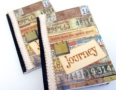 Mini Travel Journal  Journey Notebook  Mini by PrettyByrdDesigns