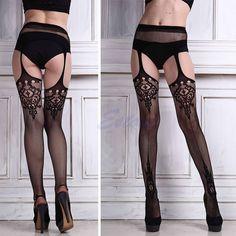Womens Sexy Lace Top Thigh-Highs Leggings Stockings Garter Belt Socks Suspender