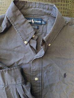 Men Ralph Lauren Ellington Blue White Checked Large Shirt Polo #RalphLauren #ButtonFront