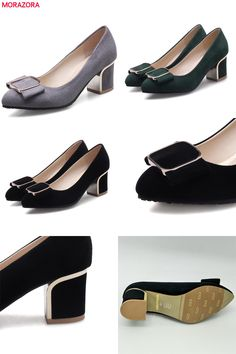 [Visit to Buy] MORAZORA Flock shallow square heels shoes woman fashion elegant work party shoes pointed toe women pumps solid big size 34-43  #Advertisement