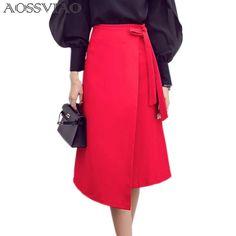 2017 Summer Women A-Line Skirt Plus Size Winter Fashion Knee Length High Waist Casual Loose Skirt Elegant Open Slit Bow Skirt Mini Skirt Style, Bow Skirt, Plus Size Winter, England Fashion, Cheap Skirts, Body Con Skirt, Skirt Fashion, Style Fashion, A Line Skirts