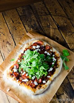 When you have spicy chorizo, caramelized onions, Goat Cheese, and arugula on a pizza, you can't go wrong. Seriously, you need to make this pizza right now.