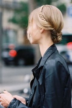 Hair style: braid crown hidden in a blonde turn-over bun.
