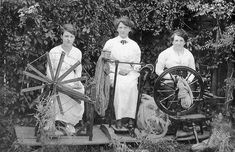 Three women spinning wool to knit socks for soldiers during World War I - Tenterfield, NSW, ca. 1915 / photographer unknown by State Library of New South Wales collection, via Flickr