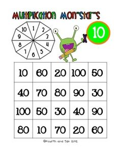 Monster themed multiplication spinner games! Low prep and fun!