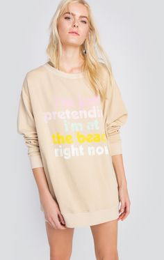 Seas the day in our Play Pretend Roadtrip Sweater! Extra long and loose featuring a super oversized, roomy fit in our softest sherpa fleece.  In Sand Castle. 70% Cotton, 30% Polyester Model wears a size small
