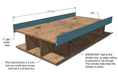 Build your own storage bed frame. This unique design maximizes storage - so you can store all the things! Use any headboard, or build your own as shown with our free rustic farmhouse headboard plans. Diy Bedframe With Storage, Diy Daybed, Bed Frame With Storage, Bed Storage, Diy Twin Bed Frame, Bed Frame Plans, Diy Frame, Diy Furniture Projects, Plywood Furniture