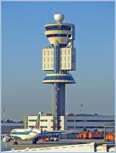 Malpensa Airport Control Tower, Milan Airport Control Tower, Airport Design, Aviation World, Airline Pilot, Air Traffic Control, Tower Building, Futuristic Architecture, Model Airplanes, Air Travel