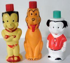 3 Vintage Colgate Soaky Bubble Bath Bottles -Mighty Mouse-Mickey Mouse-Pluto #Colgate