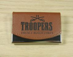 Custom Personalized Engraved Leather Business Card Holder  Business Card Case Stainless Steel with Leather Covering