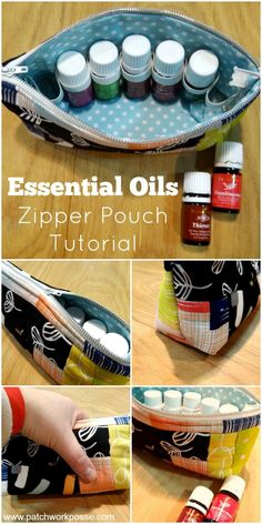 Essential Oils Zipper Pouch Tutorial-- Do you like to carry a few oils around? This zipper bag is great for loading and going.  The elastic band keeps them secure.