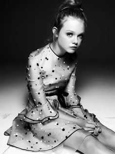Elle Fanning wearing a Valentino Organdy Flower Dress