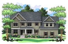 2947 sq ft four bed two and a half bath three car garage. master suite on second floor <= master by kids rooms a must for me.