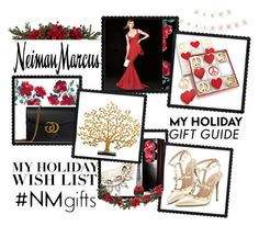 """""""The Holiday Wish List With Neiman Marcus: Contest Entry"""" by iraavalon ❤ liked on Polyvore featuring La Petite Robe di Chiara Boni, Nearly Natural, Neiman Marcus, Jonathan Adler, Lulu Frost, Gucci, Christian Louboutin, Michael Aram and Valentino"""