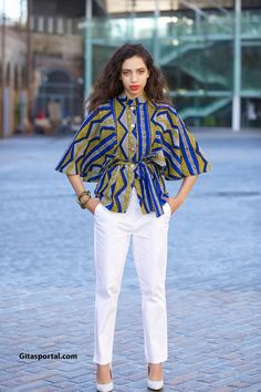 Batwing sleeve top / kimono top / african print top / bell