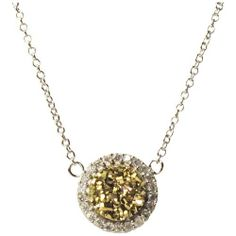 """Champagne Druzy Quartz Crystals and White CZs Sterling Silver Pendant Necklace 16"""" with 1"""" Extension Rich Chic Jewelry. $39.20. Sterling Silver. 17"""" Length, .40"""" Width. Champagne Druzy Crystals, White CZs. Free Jewelry Pouch Included. Save 78% Off!"""