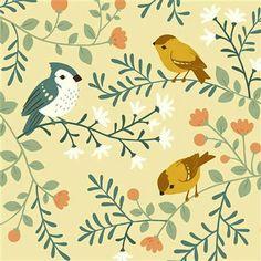 Birch fabrics tissus jersey coton bio Acorn trail Bird branches